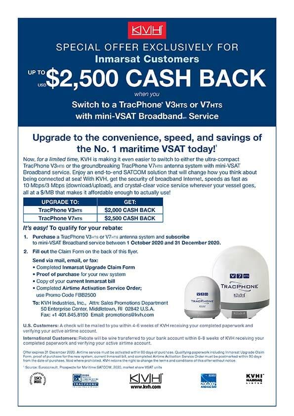 kvh inmarsat $2500 cashback